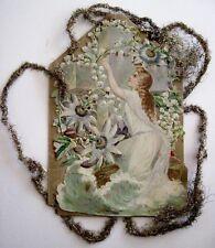 Vintage Victorian Antique Christmas Die-Cut Scrap Ornament w/Woman & Flowers *