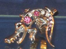 NEW SIZE 8 SILVERTONE CRAZY PINK & CLEAR CRYSTAL HUNGRY CROCODILE RING r028