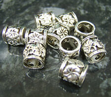 10 x Silver tone flower patterned spacer EUROPEAN charm bead