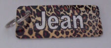 Novelty personalised leopard print keyring ideal gift for christmas or birthday