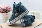 Women Flat Denim Canvas Sneakers High Upper Lace Up Sports Casual Walking Shoes