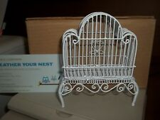 BEAUTIFUL WHITE WIRE BIRD CAGE   - DOLL HOUSE MINIATURE
