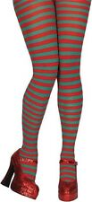 Red and Green Stripe Elf Christmas Fancy Dress Tights Ladies Costume Accessory