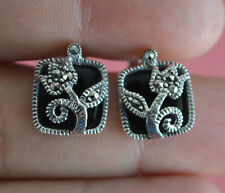 925 Sterling Silver Marcasite Semi Gem Black Onyx Square Flower Stud Earrings