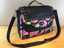 Betseyville Betsey Johnson Crossbody Satchel Handbag Black Pink Floral Hip Bag