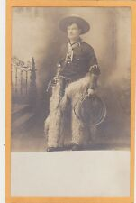 Studio Real Photo Postcard RPPC - Cowboy with Chaps Lasso and Gun