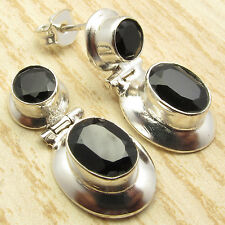 BLACK ONYX HINGE Stud Earrings ! 925 Sterling Silver Plated Over Solid Copper