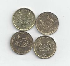 4 NICE 5 CENT COINS from SINGAPORE (2001, 2004, 2011 & 2013)