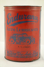 Early Rare Endurance 5lb Auto Lubricants Tin Can Western Tire Auto Stores