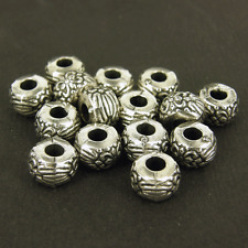 100 x CCB Plastic Silver Spacer Beads Large Hole 9x6mm  Embossed Flower  NP4