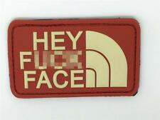 Hey F*** Face PVC Airsoft Patch Red
