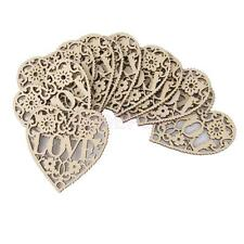 10x Wooden Shapes Cutout Hearts LOVE Scrapbook Embellishments Hanging Decoration