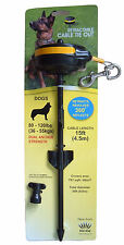 Dog Tether,Retractable Cable Tie Out,Large 80-120 lb 15ft lead,Dual Anchor Stake