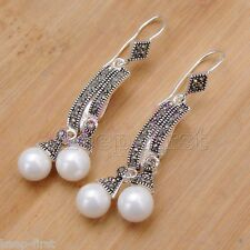 Marcasite 925 Sterling Silver NaturaL Shell Pearl Dangle Right Girl Earrings