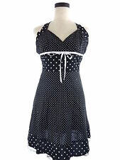 Womens S Finesse Black & White Polka Dot Halter Dress