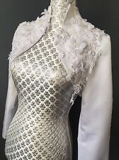Bridal White Satin SHRUG Bolero Jacket Wrap Luxury 3d Floral Lace GLAM 10 38