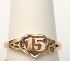 10k White Rose & Yellow Gold Sweet 15 Birthday Heart Quinceanera Ring Band