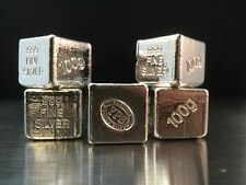 "100g Hand Poured 999 Silver Bullion Bar ""Cube"" by YPS"