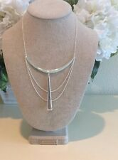 Stella and Dot Swag Necklace Silver Chain Multiple Dangle Nickel New $80
