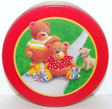"Olive Can Co 1989 ROLLER SKATING BEARS Tin Box Container Canister 6.5""x1 7/8"""