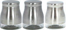 Set of 3 Stainless Steel Glass Tea Coffee Sugar Canister Caddy Set Cream Red