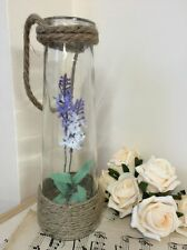 Vintage Hanging Glass Bottle Vase With Nautical Rope Handle & Artificial Lilac