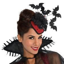 Ladies Flying Vampire Bat Clip On Couture Hat Head Peice Fascinator Halloween UK