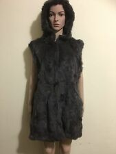 Women Real Rabbit Fur Vest Hooded