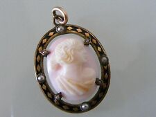 Vintage Gold Filled Angel Skin Coral Black Seed Pearl Diamond Open Oval Pendant