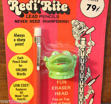 REDI'RITE LEAD PENCIL VINTAGE F FROG HEAD ERASER REDI RITE WESTERN INTERNATIONAL