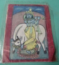 OLD VINTAGE WATER COLOR PORTRAIT PAINTING OF HINDU RELIGIOUS LOVE GOD KRISHNA
