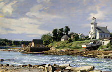 John Stobart Print - The Reversing Falls on Maine's Weskeag River