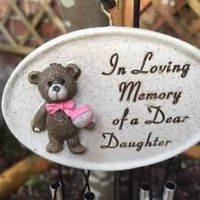 Grave Memorial Wind Chime with Teddy Bear. In Loving Memory of a Dear Daughter