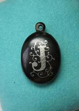 Victorian Locket J Initial French Pique Silver Flower Belle Epoque c1870 MOP