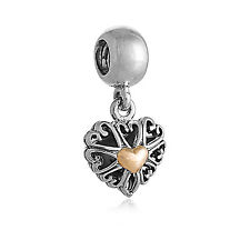 New Genuine Pandora Sterling Silver 14K Gold Openwork Love Pendant Charm 791274