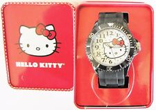 SANRIO HELLO KITTY BLACK SILICONE BAND+STEEL DIAL+WHITE FACE WATCH-H3WL1042+BOX