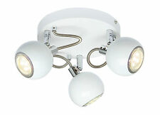 Retro Eyeball Gloss White and Chrome 3 Way Ceiling GU10 Spotlight Light Fixture