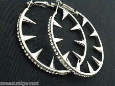 Silver Spike Crystal Hoops Earrings Crystals New