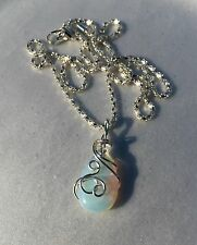 Opalite Silver Plated Wire Wrapped Pendant with Sterling Silver Chain