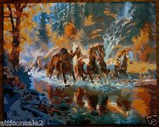 Genuine Hand Painted Horse PAINTING on Canvas 16X20 STRETCHED READY TO HANG