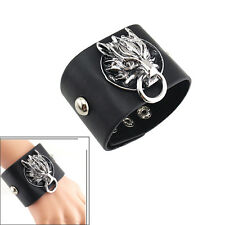 Fashion Gothic Mens Punk Chic Dragon PU Leather Cuff Bracelet Wristband Jewelry