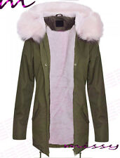 NEW LADIES PLUS SIZE Womens Oversized Hood Coloured Pink Fur Parka Jacket Coat 2