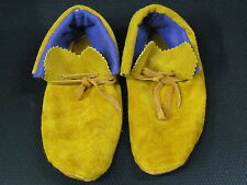 8 1/2  INCHES LONG NATIVE AMERICAN TANNED MOOSE HIDE MOCCASSIN  NO BEADS
