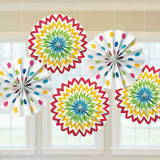 5 Rainbow Multi Colour Chevron Polka Dot Party Hanging Paper Fan Decorations