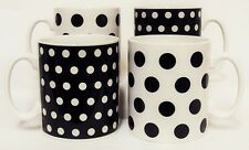 Black Dots and Spots Mugs Set of 4 Porcelain Black Mugs Hand Decorated in the UK