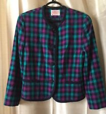 LN Petite Pendleton 10 Woolen Mills Jacket Wool Blazer Lined Green Purple Navy