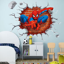 Amazing Spiderman Avengers 3D crack Wall Stickers Vinyle Autocollant Art Chambre Garçons