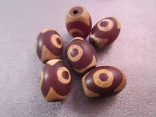 Matte Tibetan Three Eye Dzi Agate Beads 6pcs