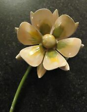 "VINTAGE ""ENAMEL"" PEACH & GREEN FLOWER WITH DOUBLE PETALS BROOCH"""
