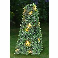 New Artificial LED Solar Powered Topiary Pagoda Ball Boxus Boxwood Garden Lights